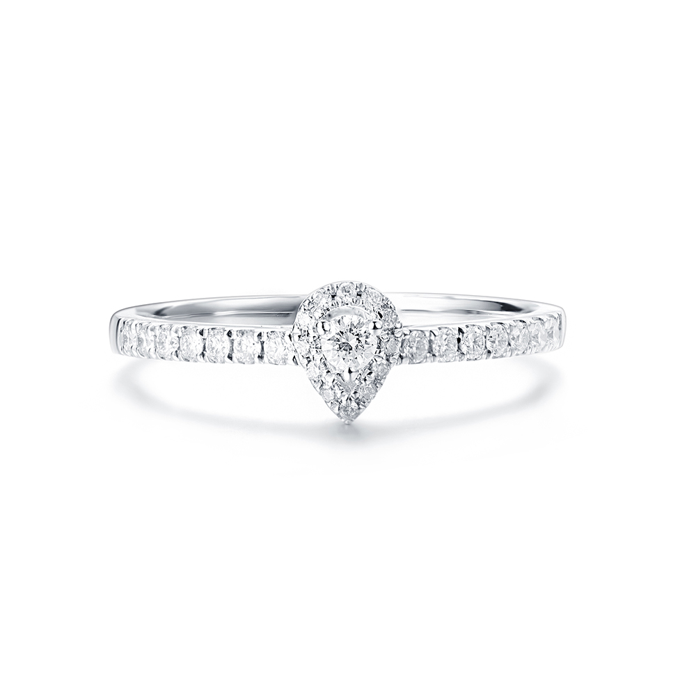 Round diamond with a Pear diamond Halo Engagement ring