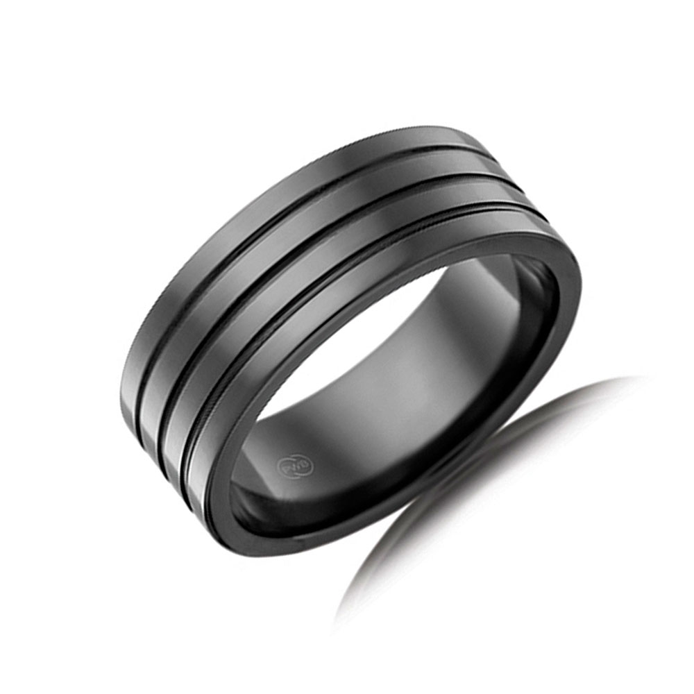 Zirconium Grooved Wedding ring F4436
