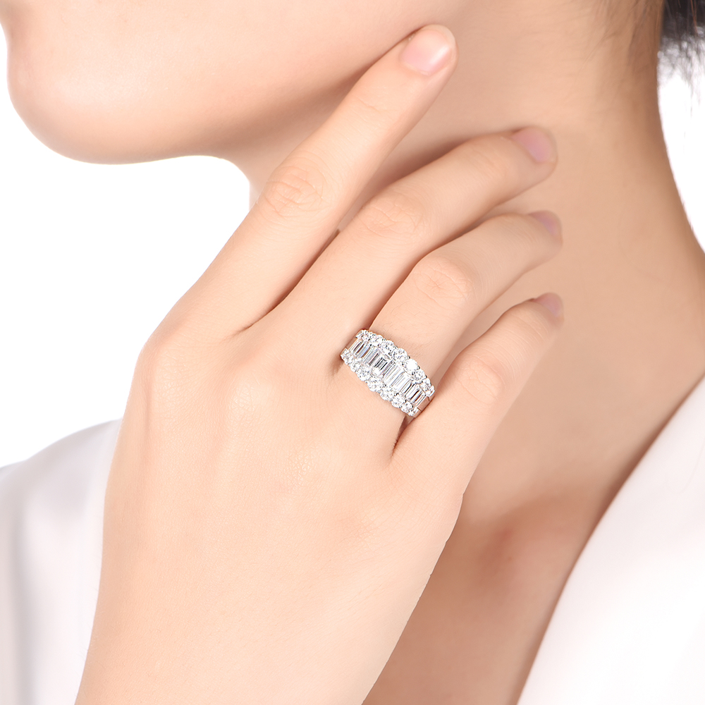 Baguette and Round Diamond Dress ring
