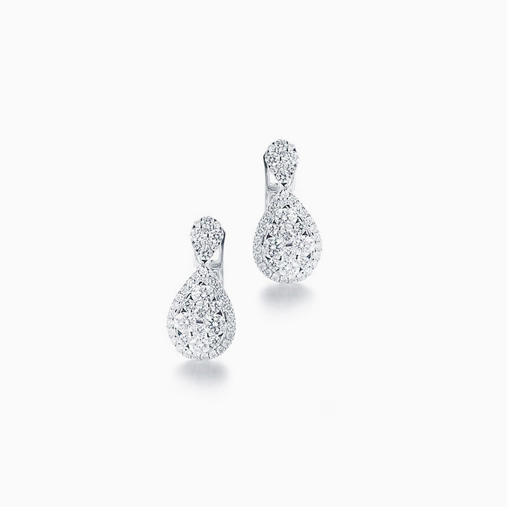 Pear shape cluster earrings