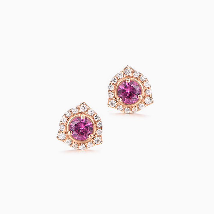 Rosegold Ruby Studs