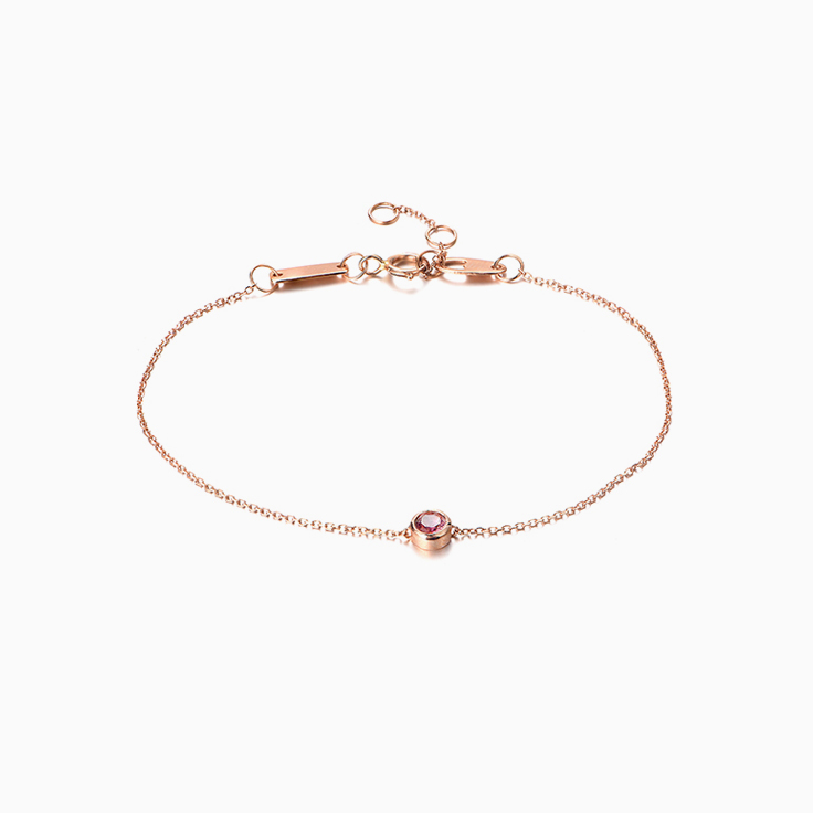 Pink tourmaline Drop set bracelet