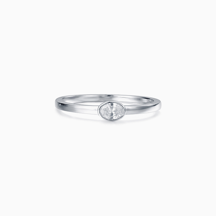 Oval Drop Set Ring