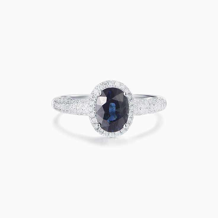 Sapphire on a Pave Band