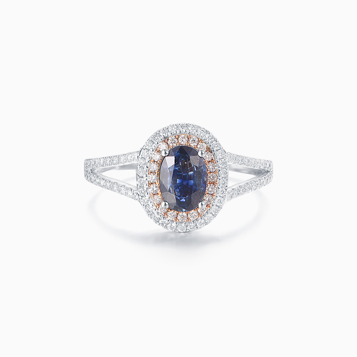 Blue Sapphire Double Halo Ring