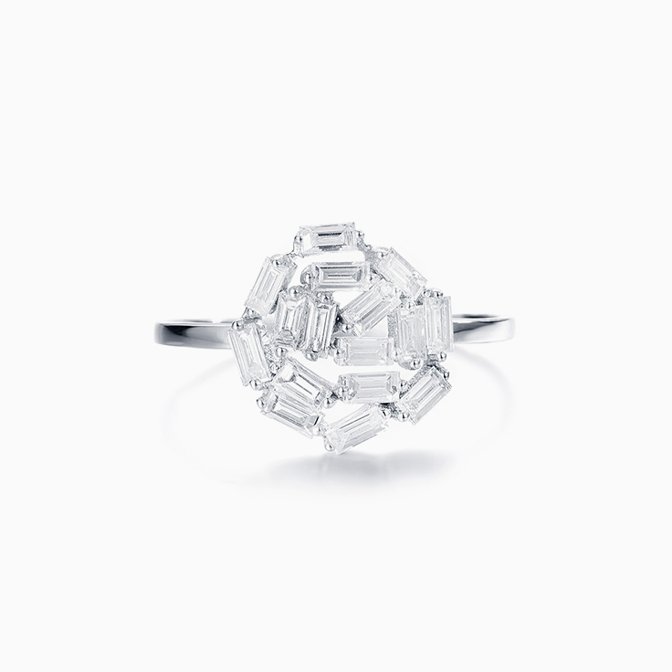 Flower Baguette  Diamond Ring