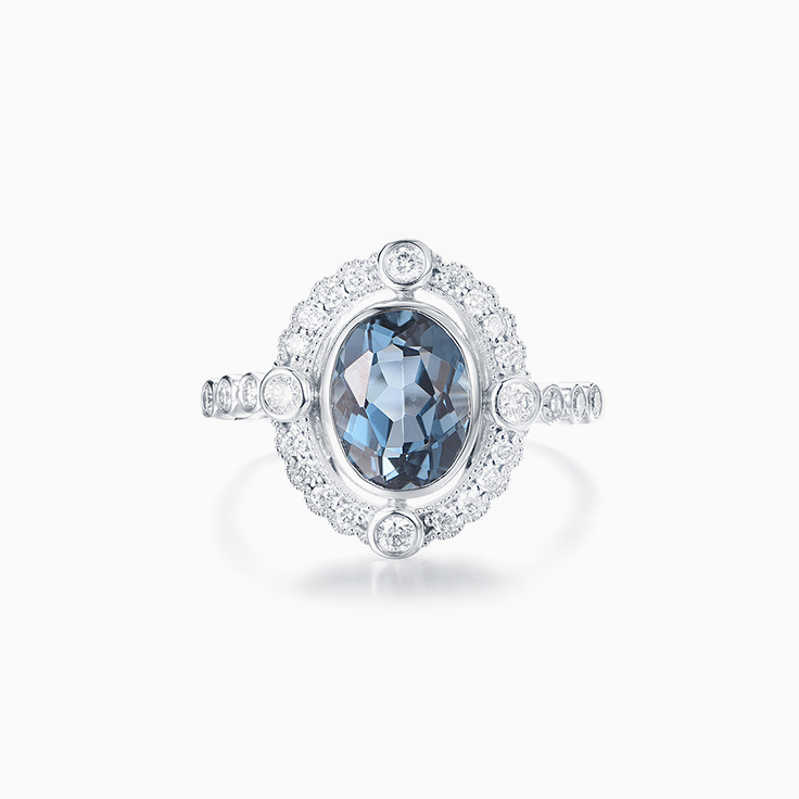 Art Deco London Blue Topaz Ring