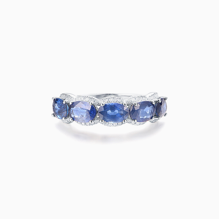 Oval Cut Blue Sapphire Band