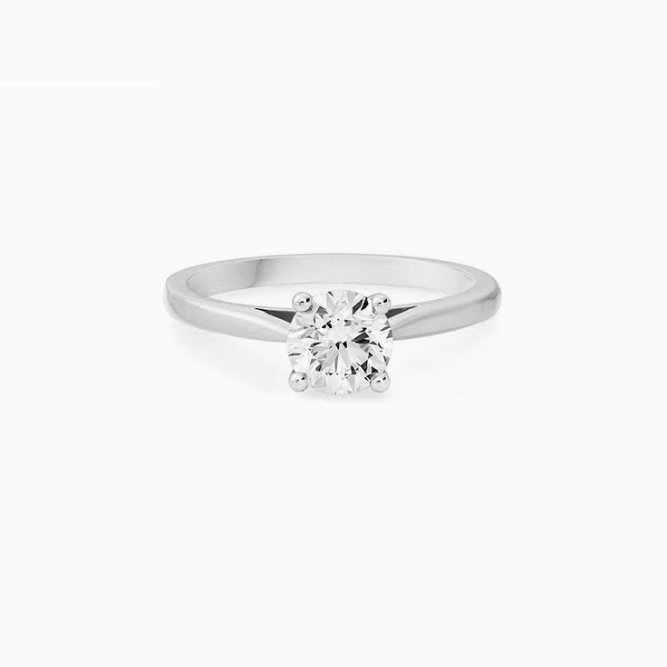 Round brilliant cut engagement ring in a four claw setting