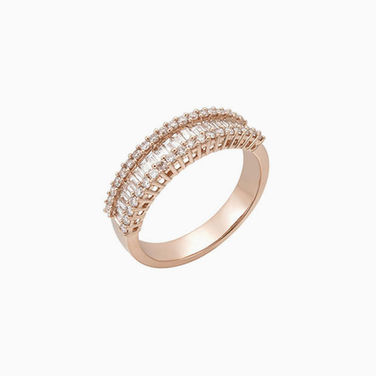 Baguette and Round stack ring 2124