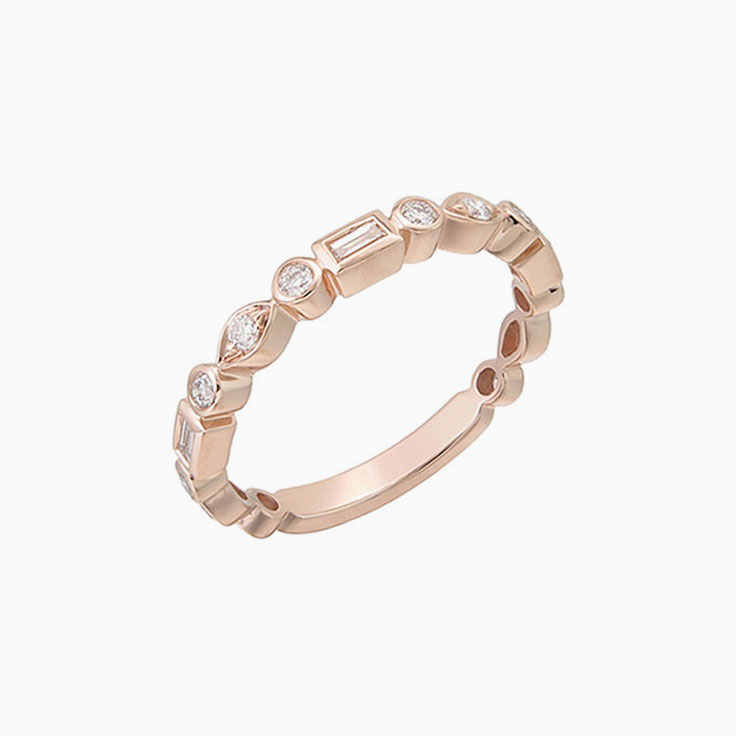 Baguette and Round Bezel set ring