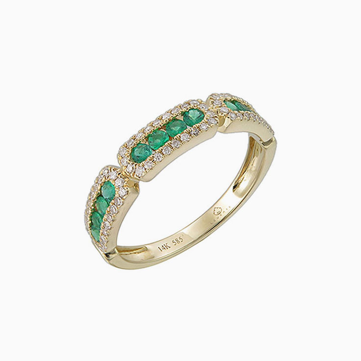 Emerald and diamond stack ring 3660