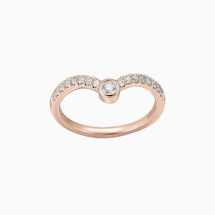 Curved Diamond wedding ring 3071