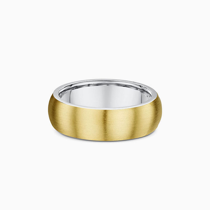 Classic rounded two tone wedding ring