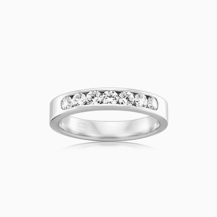 Seven diamond channel set ring F3589