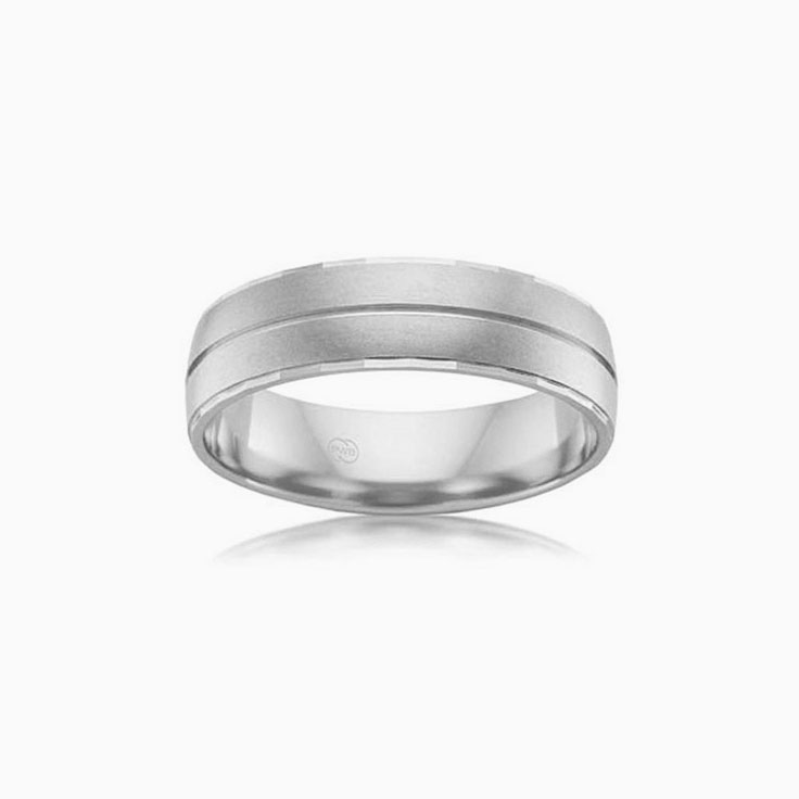 Centre Grooved Mens wedding ring B3871