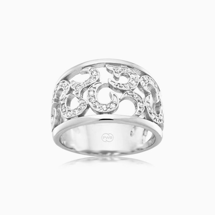 Patterned diamond dress ring J3406