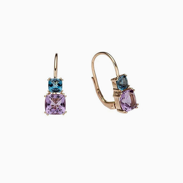 Amethyst and Blue Topaz earring