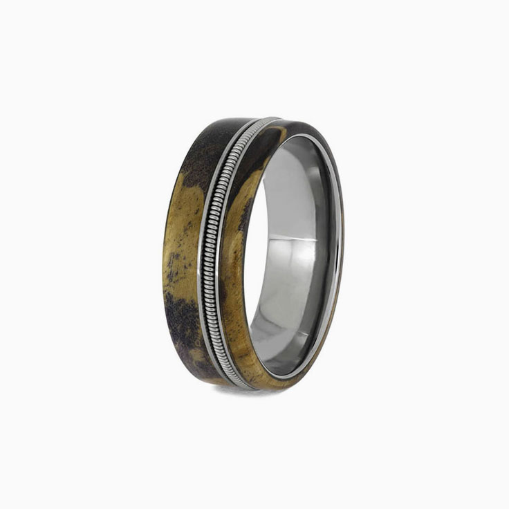 Wood and guitar string ring