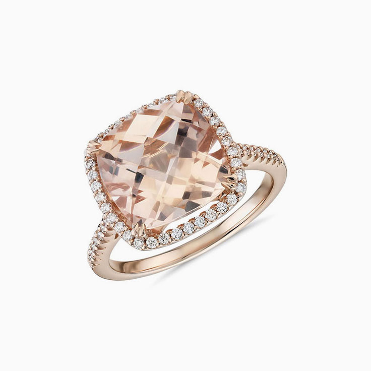 Cushion Morganite and Diamond ring