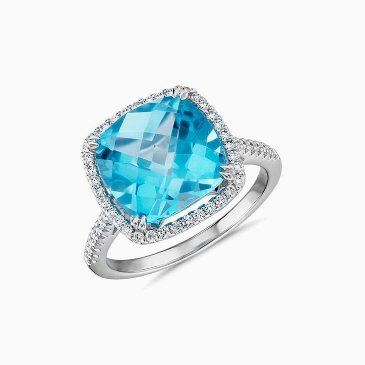 cushion Blue topaz Diamond ring