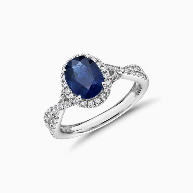 Oval Sapphire on twisted band