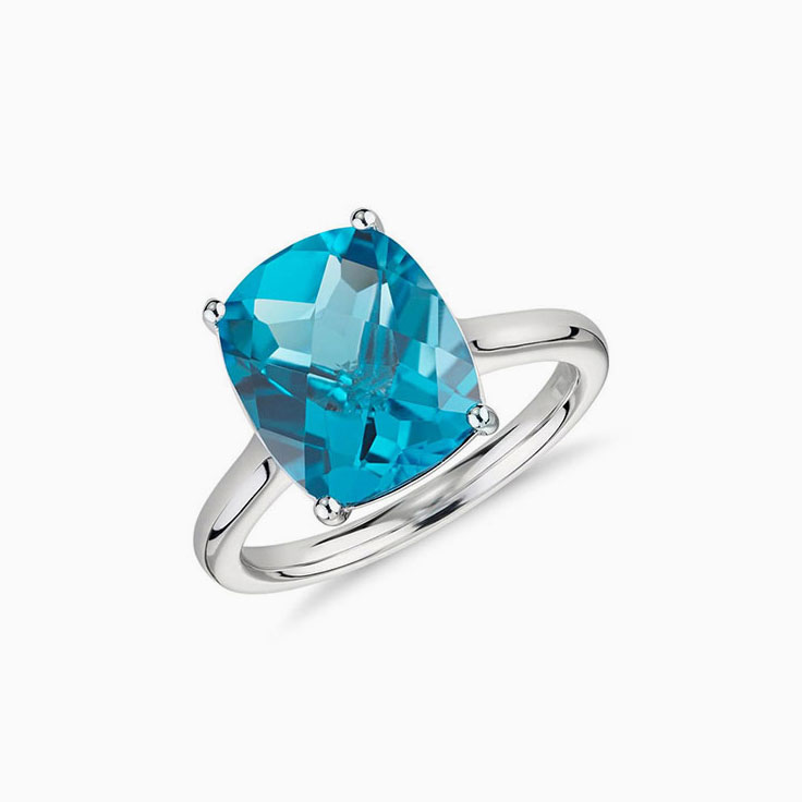 Blue topaz on plain band