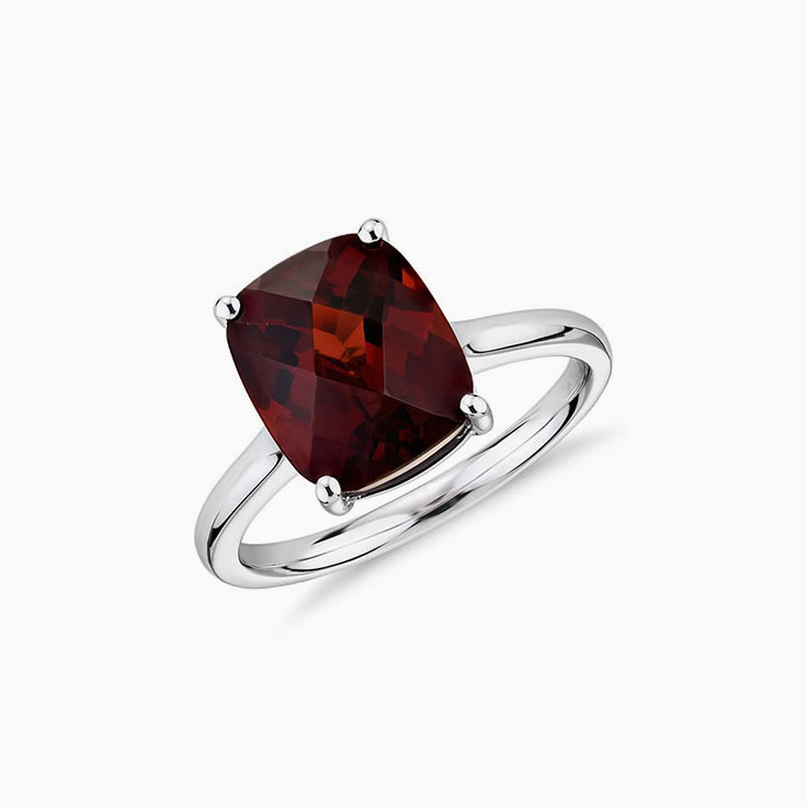 Garnet on a plain band