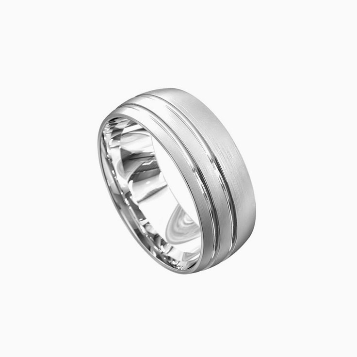 Double grooved mens ring 3060