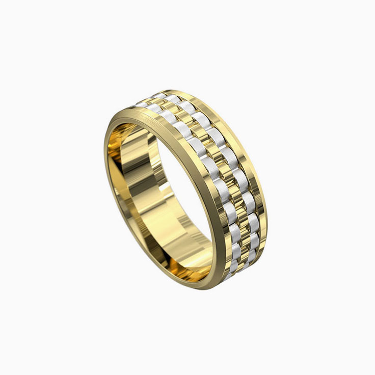 Patterned mens ring 5092