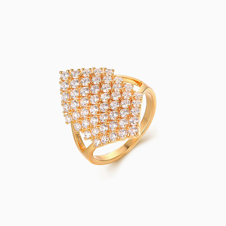 Gold Diamond Shape Pave set Ring