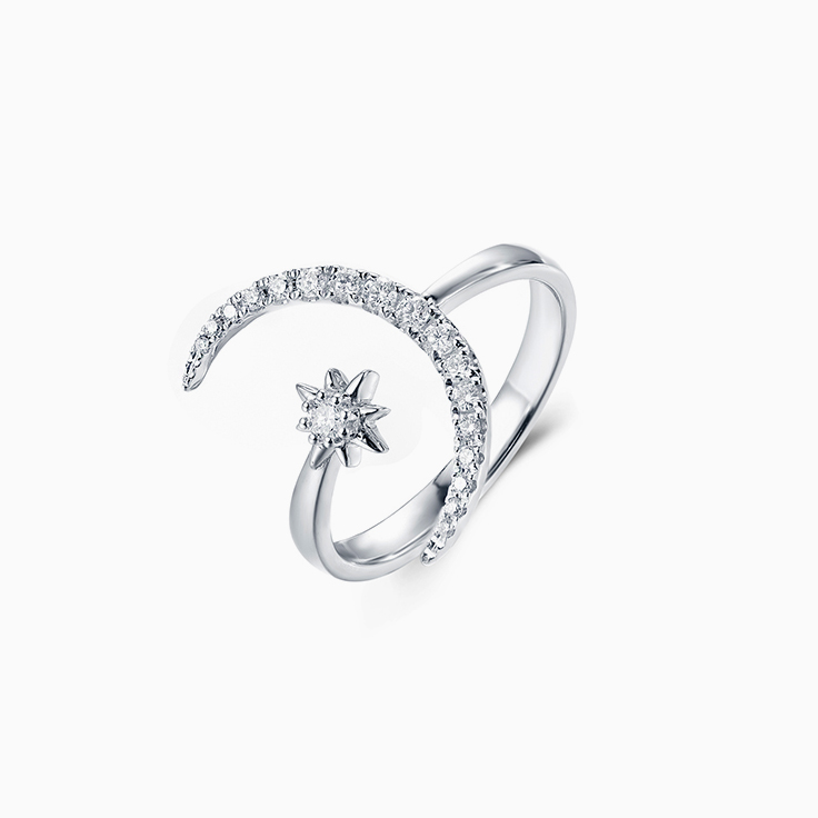 Moon Star Diamond Ring