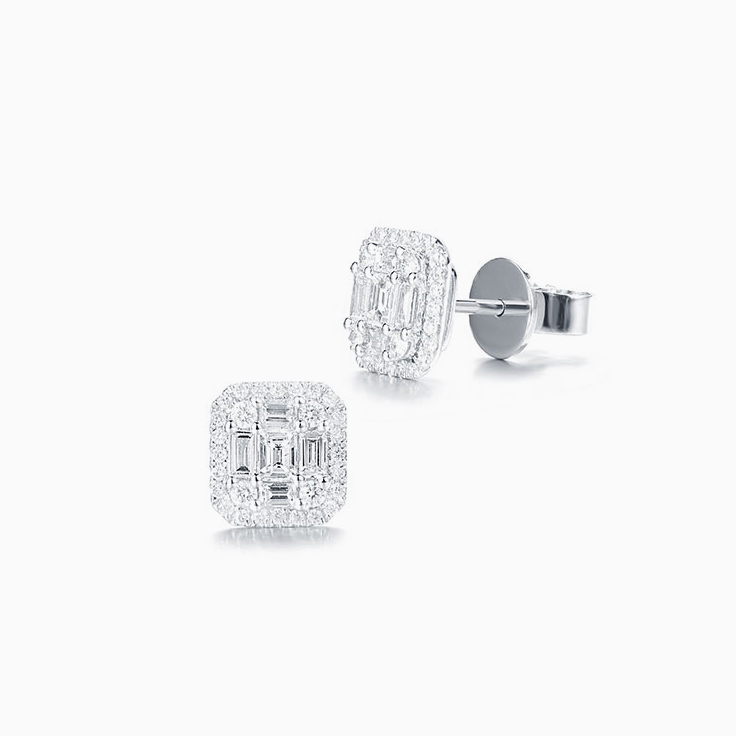 Emerald Shape diamond Studs