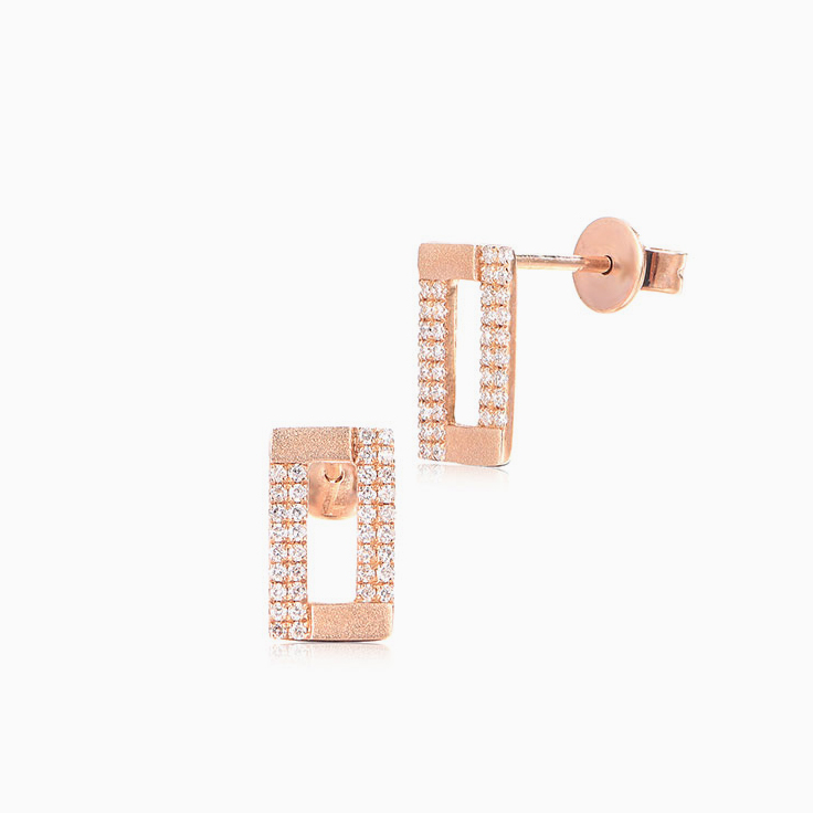 Rectangle Diamond Studs