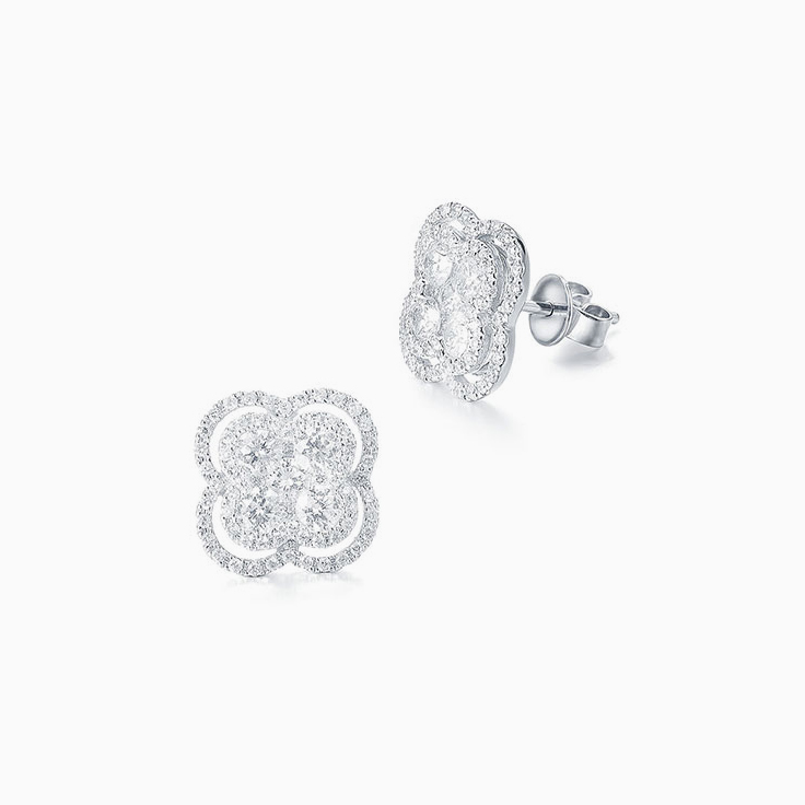 Diamond Clover Studs