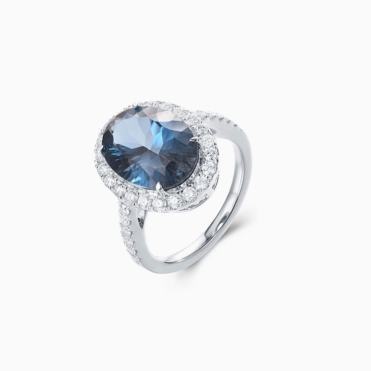London Blue Topaz Diamond Halo Ring