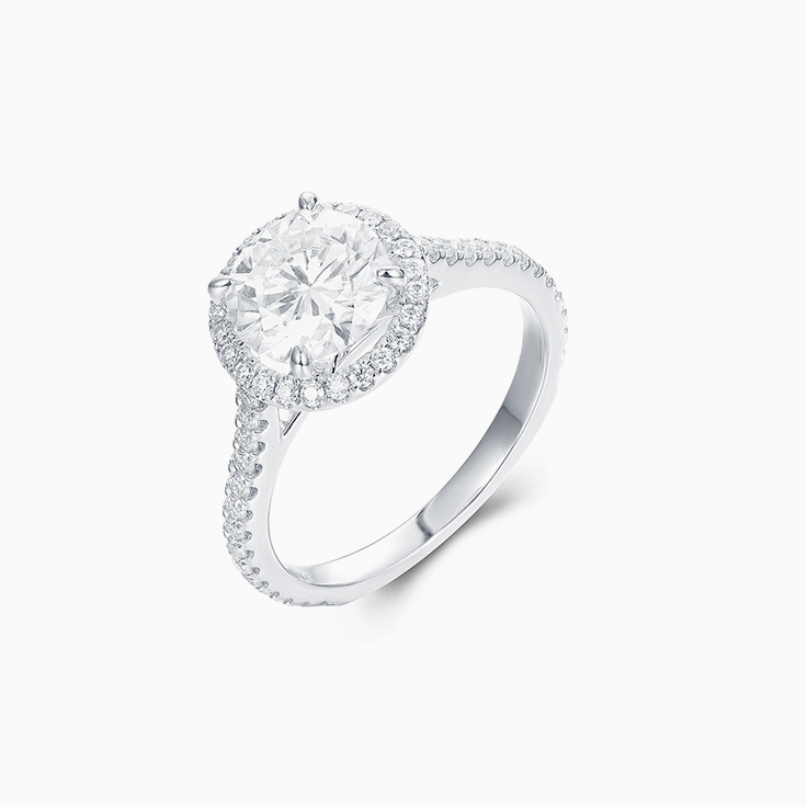 Classic Round Brilliant Engagment ring with a Diamond Halo