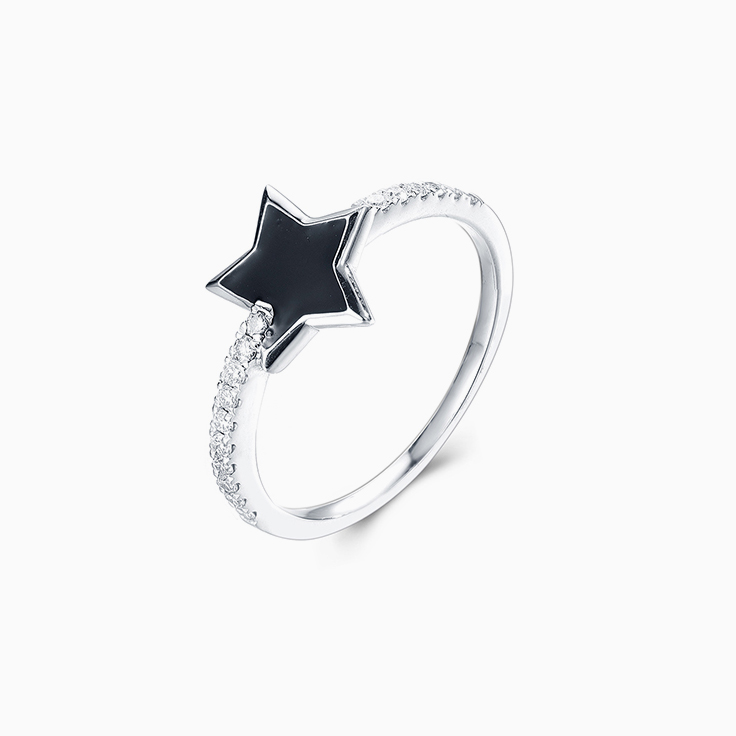 Black Enamel Star Ring