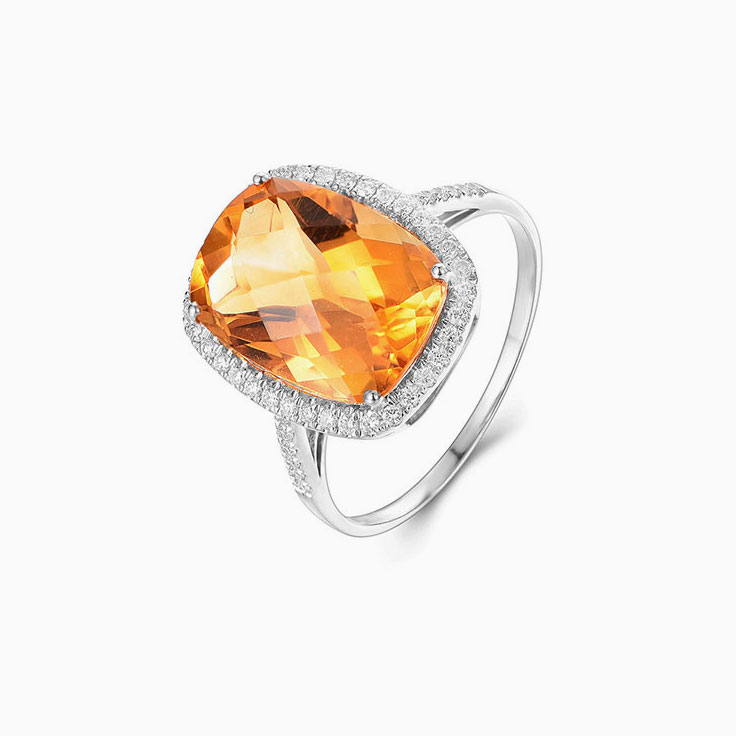 Cushion Shape Citrine Ring