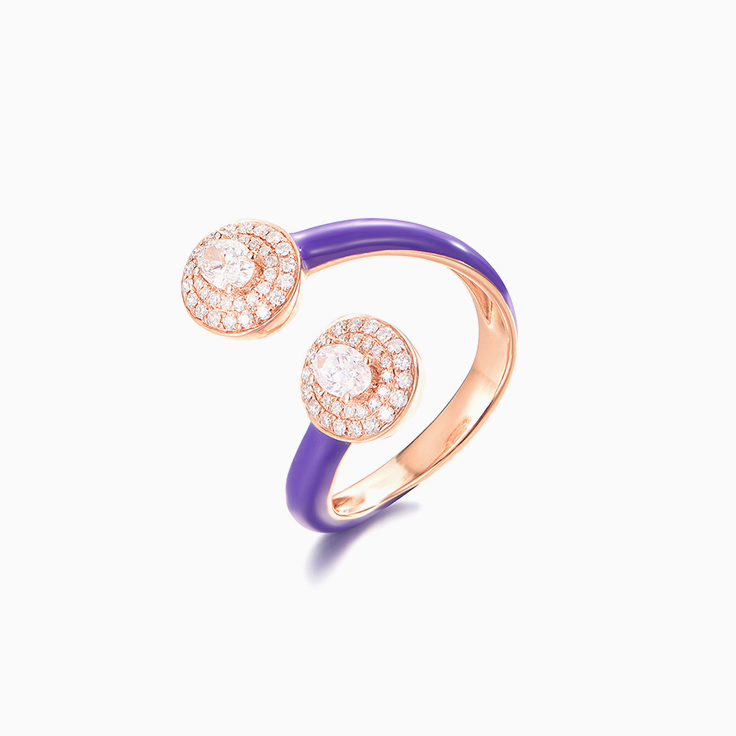 Purple Enamel and Diamond Cuff Ring