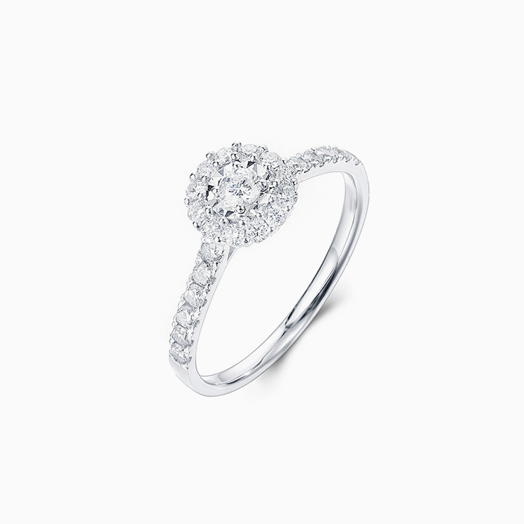Round Diamond with a Halo Petite Engagement Ring
