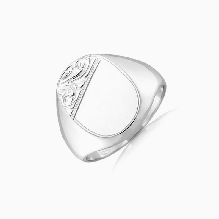 Oval hand engraved signet ring j1675
