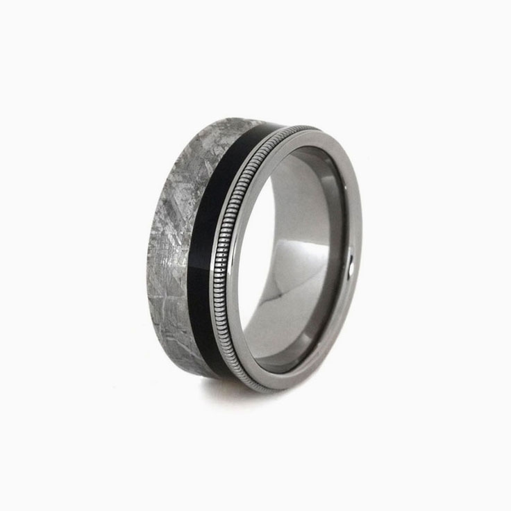 Meteorite and guitar string ring