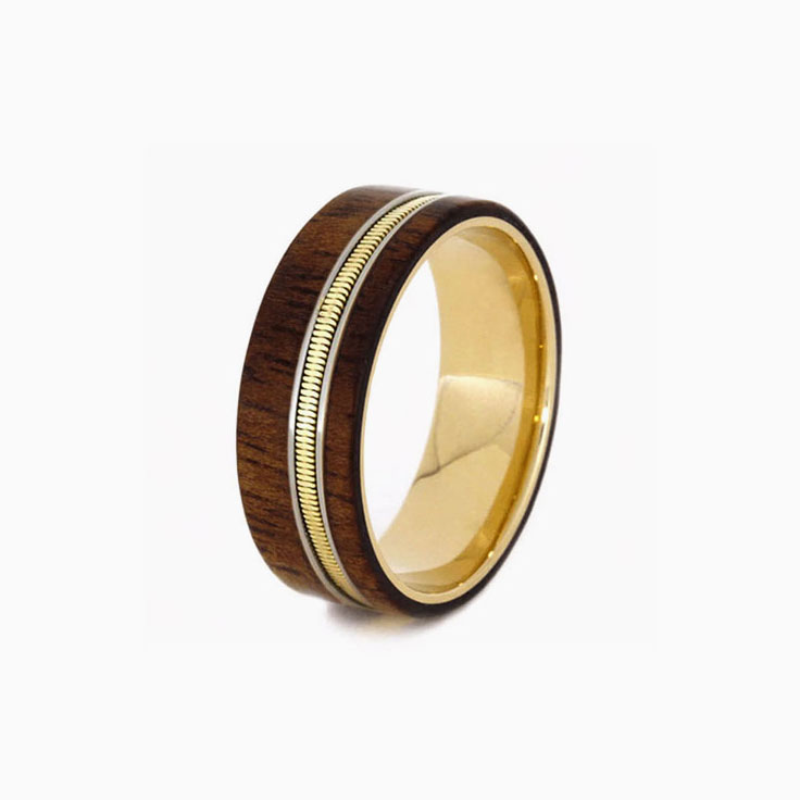 Guitar string with gold and wood