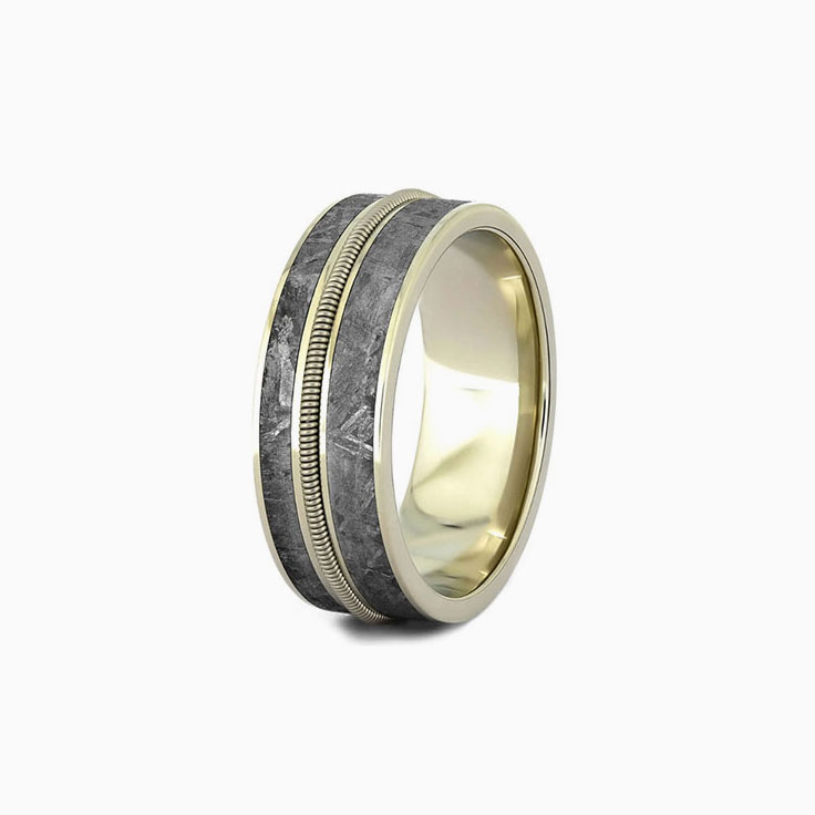 Guitar string with meteorite mens ring
