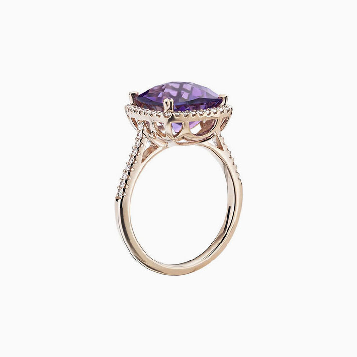Amethyst Diamond ring